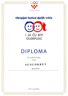 Olimpijski festival dječjih vrtića, diploma za sudjelovanje, 2013. godina