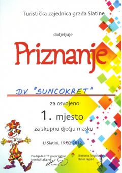 TZ grada Slatine, priznanje za osvojeno 1. mjesto za skupnu dječju masku, 2012. godina