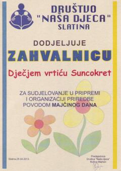 DND Slatina, zahvalnica za sudjelovanje u pripremi i organizaciji priredbe povodom Majčinog dana, 2013. godina